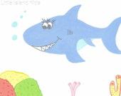 nursery art,nursery decor, little boy nursery artwork, tropical decor, childrens artwork, childrens print, Happy shark 8 x 10 print.