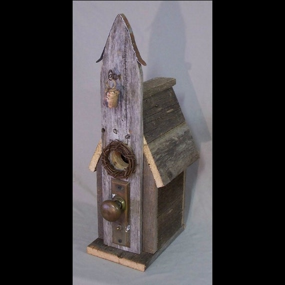 Primitive funky barn wood church birdhouse functional one of a