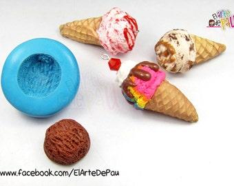 Ice cream Flexible silicone mold (19mm)/Molde flexible de bola de helado