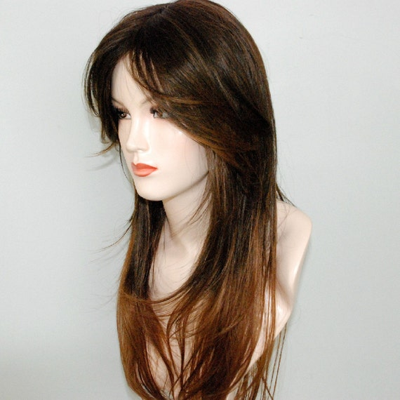 Light brown two toned to auburn ends /straight long layered wig