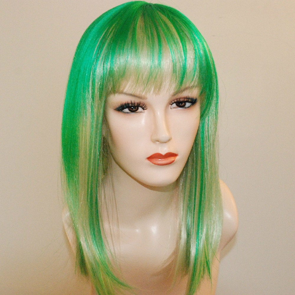 Special sale green highlights on light blonde wig zoom pmusecretfo Image collections