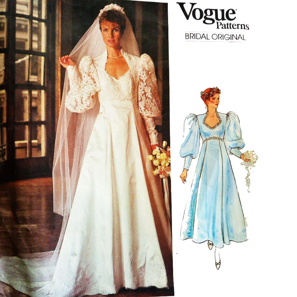 Vintage Wedding Dresses 80s: 80s Vintage Vogue Wedding Dress Pattern / Vogue Bridal Empire