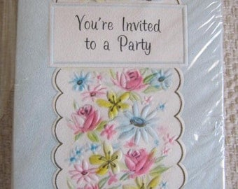 Vintage Party Invitations, Package of 12, Laurel Cards, Spring Garden Party Invitations, Unused in Original Packaging, Scrapbooking