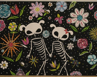 Day of the Dead  Polka Dot Puppy Love Print  Rainbow. Gothic.  Original Painting by Dona Silver