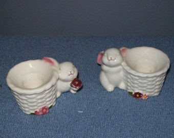 set of avon bunny taper candle holders