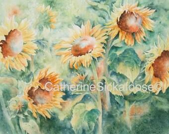Sunflowers, WATERCOLOR PAINTING, a fine art giclée, yellow, green,