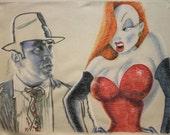 Pastel portrait of Eddie Valiant and Jessica Rabbit