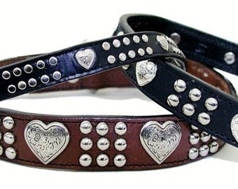 """Heart & Heavy Collars (Large Sizes 1"""" wide)"""
