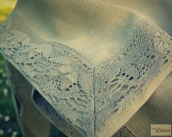 Lacy Natural Grey Linen Tablecloth Countryside