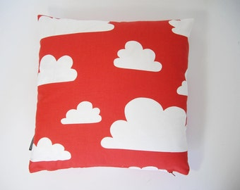 Scandinavian Farg & Form fabric Kids cushion cover - Clouds RED