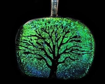Dichroic Glass Pendant, Glass Pendant,  Pendant, Fused Glass Pendant, Tree of Life Pendant, Glass Jewelry