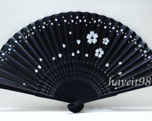 Silk Japanese Hand fan Folding fan Sakura Yukata accessory Sensu Wedding