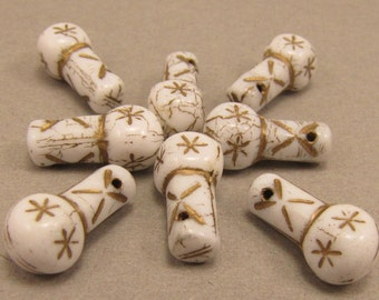 White with Gold Vintage Style 8x15mm Drop Czech Glass Beads 10pc #1737