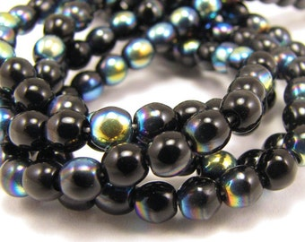 Jet Black AB 4mm  Round Czech Glass  Beads 100pc #774