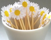 24 Daisy Party Toothpicks - White and Yellow Party Toothpicks / Cupcake Toppers