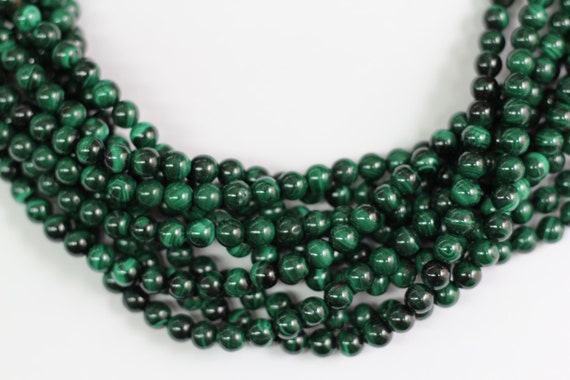 "Genuine Malachite 8mm smooth round beads 8"" length strand"