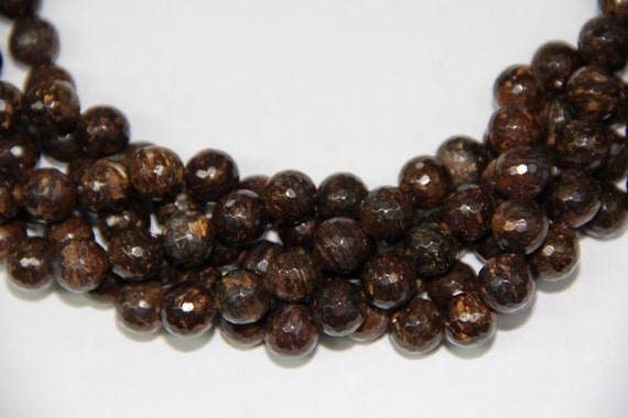 "Bronzite 10mm faceted round beads 16"" length strand"
