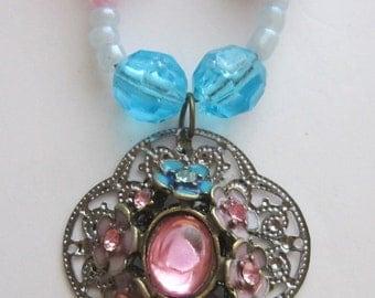 Pink & Blue Flower Pendant Necklace