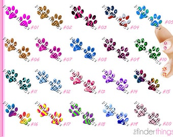 Nail Art Decals Stickers Designer Paw Prints Animals Cats Dogs Paws PAW901