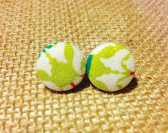 CLEARANCE!  Lime Squeeze Button Earring