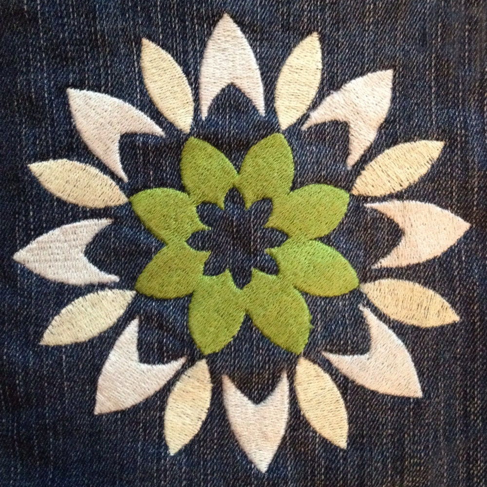 Modern abstract and bold flower machine embroidery design
