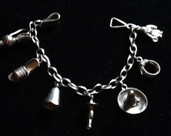 Vintage Mexico TAXCO 980 Silver Charm Bracelet Small Wrist