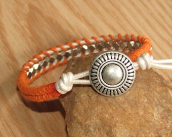 White Leather Orange Wrap Bracelet