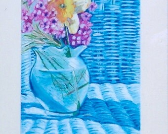 Blue Chair with Daffodil