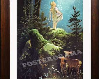 The Star Coins art by Viktor P. Mohn 1882 POSTER large 16 x 20  Grimm Fairy Tales Print story by Taschen