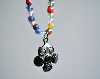 Steampunk Gas Mask Necklace with Colorful Glass Beads, Apocalyptic, Apocalypse Jewelry
