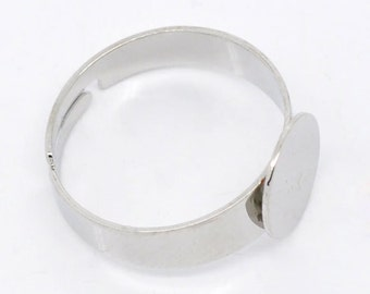 20 Silver Tone Ring Base Blank with 10mm Glue Pad - DIY jewelry - adjustable ring blank
