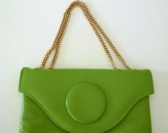 Green Leather Handbag with Adjustable Gold Carrying Chain