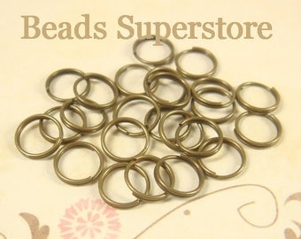 7 mm Antique Brass Split Ring - Nickel Free and Lead Free - 50 pcs (SR5AB)