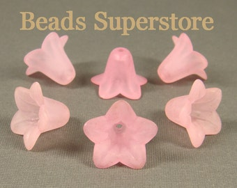SALE 18 mm x 12 mm Pink Lucite Flower Bead - 10 pcs