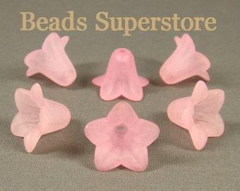 18 mm x 12 mm Pink Lucite Flower Bead - 10 pcs