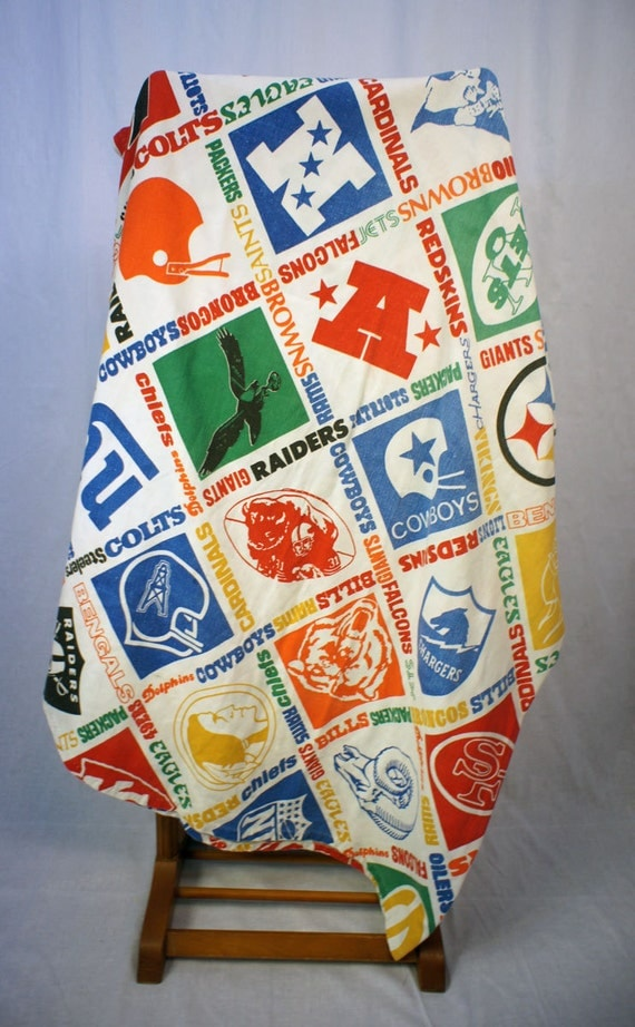 Vintage 60 S Nfl Bed Spread Official Logos On A Heavy