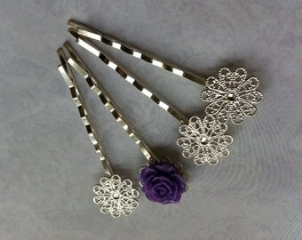 Ship from USA....12 pcs Filigree Bobby Pin Blanks,,,Silver Flower Hair Pins , Hair Clip , perfect for resin cabochon.