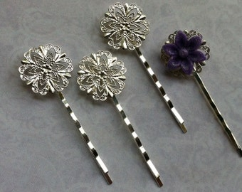 Ship from USA....10 pcs Filigree Bobby Pin Blanks,,,Silver Flower Hair Pins , Hair Clip , perfect for resin cabochon.