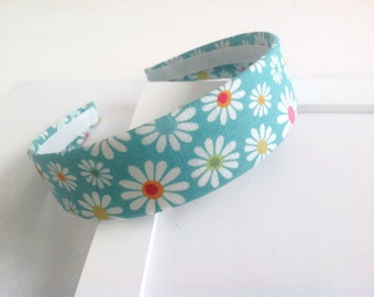 Fabric headband: Aqua headband, fabric covered headband daisy aqua, plastic headband. Big girl headband, hard headband.