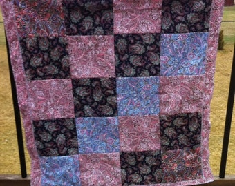 Vintage inspired Paisley Quilted Baby Blanket