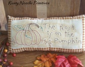 Primitive Stitched Pumkin Pillow with verse