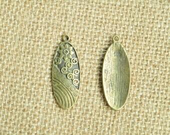 8pcs Antique Bronze Flower Oval Charms 15x40mm MM432
