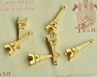 20pcs Gold Plated Eiffel Tower Charms 23x8mm K541