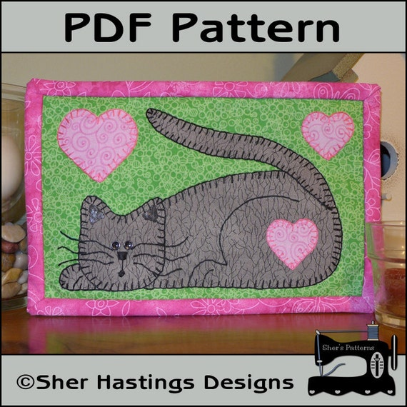 PDF Pattern For Cat Mug Rug Kitten Mug Rug Pattern Kitten