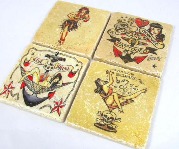 Sailor Jerry Tattoo Flash Coaster Set of by ...