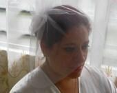 Bridal veil with crystals, traditional veil, tulle veil, summer veil, short veil, flower veil
