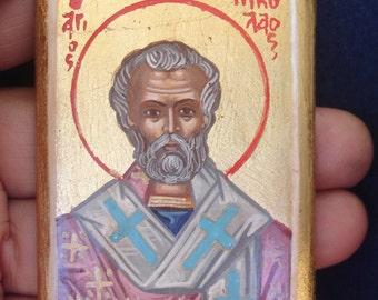 miniature.saint nicholas.5,5x7cm  othodox icon. saints icons.handpainted icon.greek icon