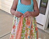 "Infant/Toddler Girls'  Stripwork Halter Dress (Aqua/ Orange/ Peach) ""Sweet Georgia"" - PlumberryCouture"