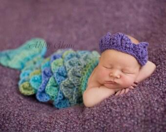 Ready To Ship Newborn Baby Girl Purple Mermaid Tiara Cape Set Crochet Photo Prop
