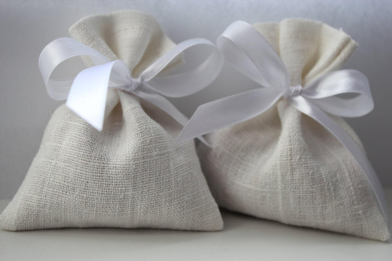 Set of 20 Wedding Favor Bags. White Linen Favor Bags